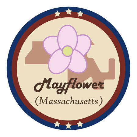mayflower: Massachusetts state with mayflower Illustration