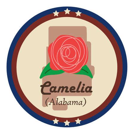 alabama: Alabama state with camelia flower Illustration