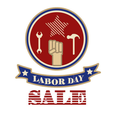 advertise with us: Labor day sale label Illustration