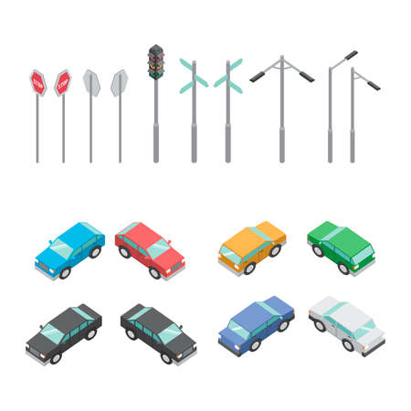signal pole: Isometric cars and poles Illustration