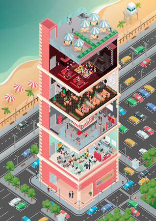 hotel lobby: Isometric city building