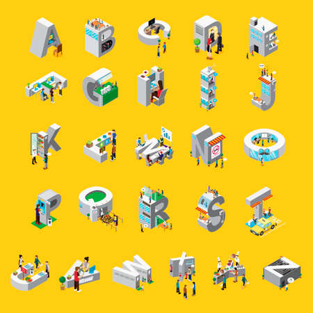 letter w: Isometric alphabet set