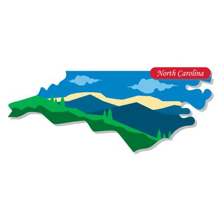 north carolina: North Carolina state map Illustration