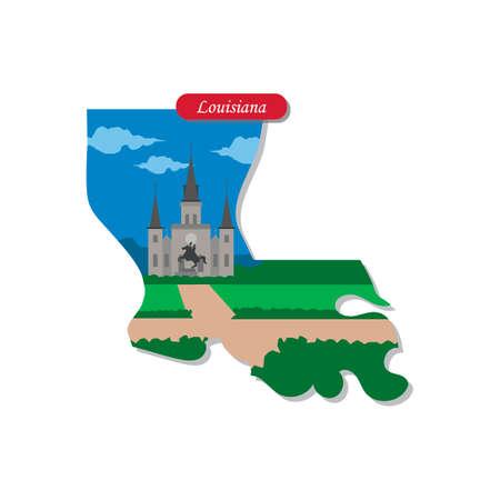 louisiana: Louisiana state map Illustration