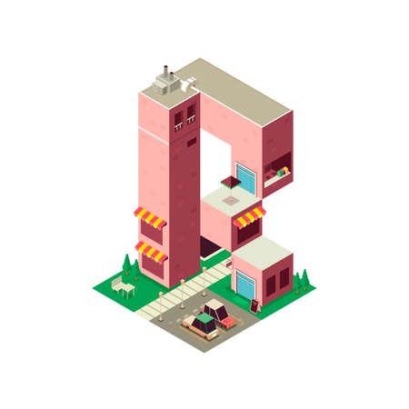 r transportation: Isometric building alphabet R Illustration