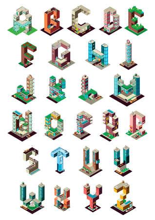 Set van isometrische gebouw alfabetten