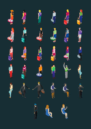 Set of isometric characters Illustration