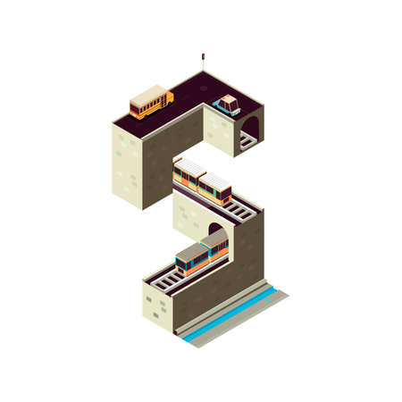 Isometric building alphabet S