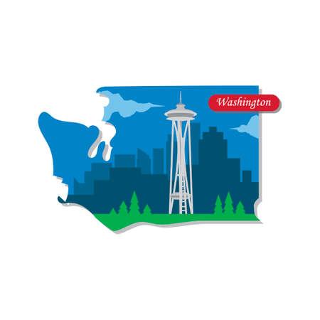 space needle: Washington state map Illustration