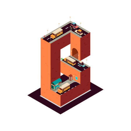 telephone booth: Isometric building alphabet B