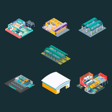 train station: Isometric train station and airport Illustration