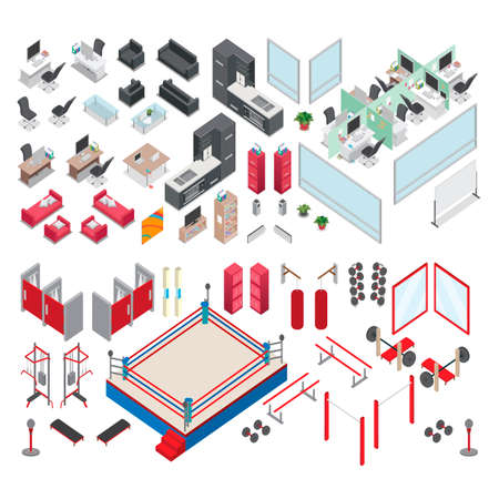 changing room: Isometric gym and office elements Illustration