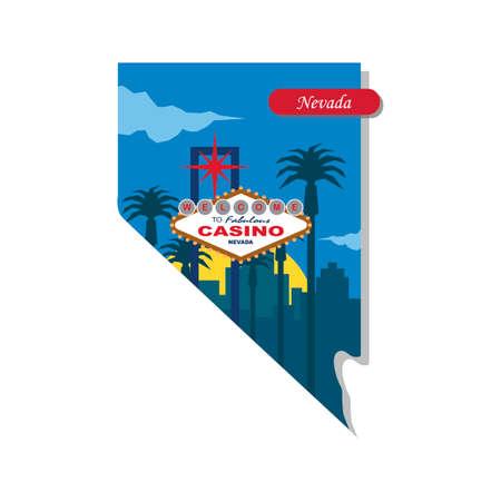 nevada: Nevada state map Illustration