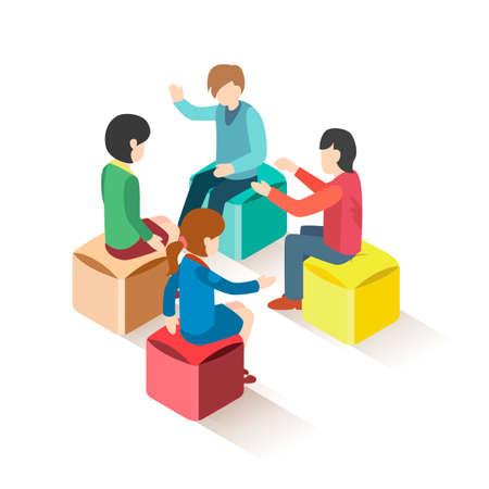 Grupo isométrico de personas sentadas en taburetes Ilustración de vector