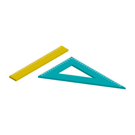 square ruler: Isometric ruler and set square Illustration