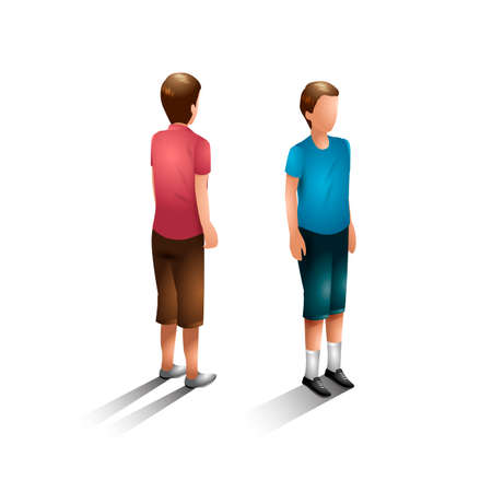 backview: Isometric boys Illustration