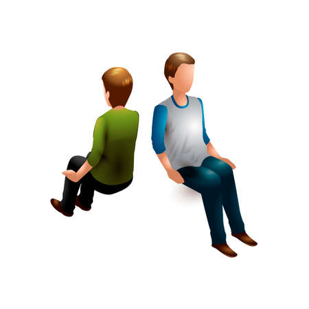 man back view: Isometric men Illustration