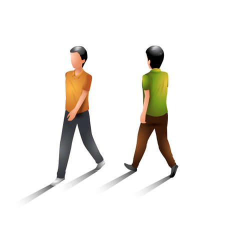 man back view: Walking men Illustration
