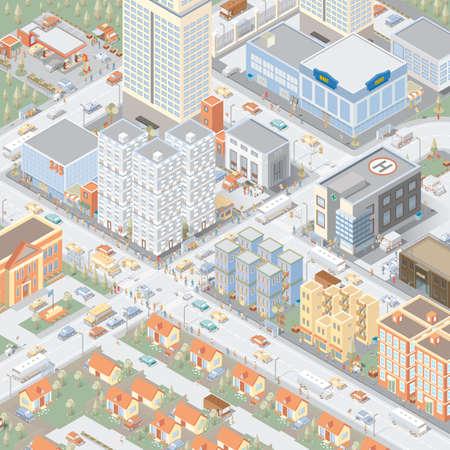 等尺性都市  イラスト・ベクター素材