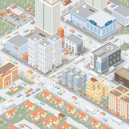 flat roof: Isometric city