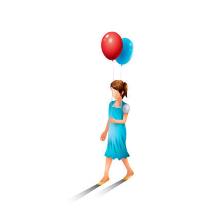 brisk: Isometric girl with balloons Illustration