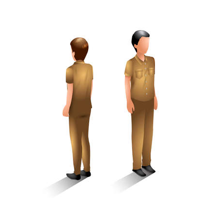 back view man: Isometric zoo staff