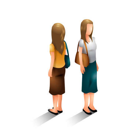 woman standing back: Isometric women Illustration