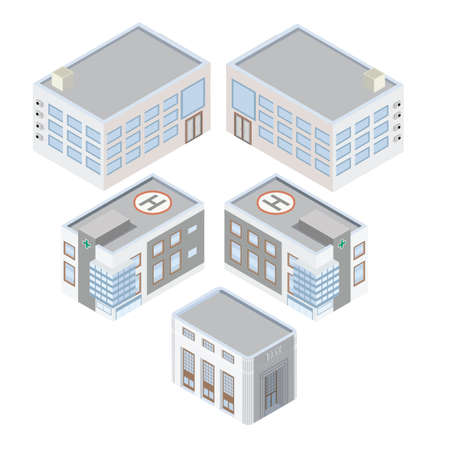 corporate building: Isometric hospital bank and office Illustration