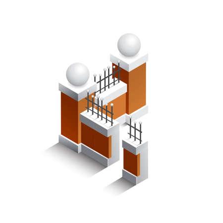 fencing: Isometric fencing walls
