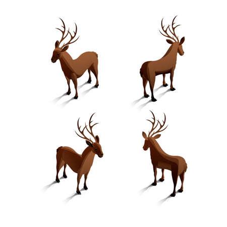 backview: Isometric reindeers Illustration
