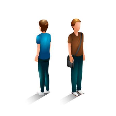 backview: Isometric men Illustration