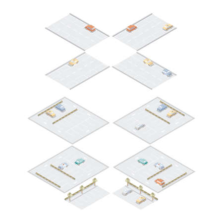 hedge trees: isometric road and parking space Illustration