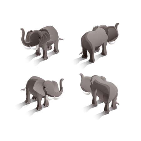 backview: Isometric elephants