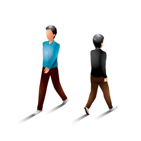 man back view: Isometric men Illustration