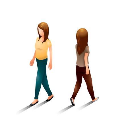 backview: Isometric women Illustration