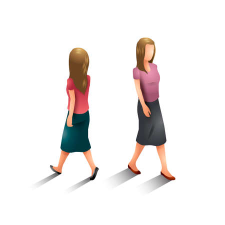 stepping: Isometric women Illustration