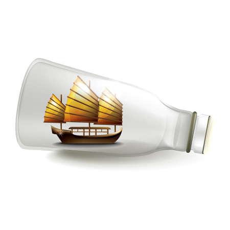 junk boat in bottle Illustration