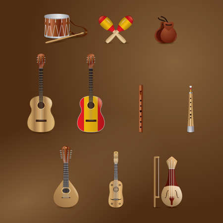 castanets: collection of musical instruments Illustration