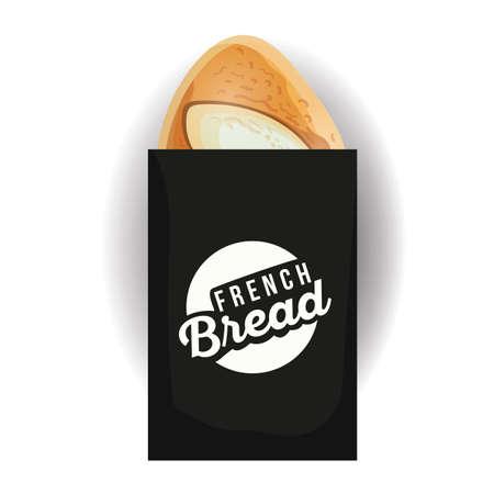 pan frances: pan francés en la bolsa de papel Vectores