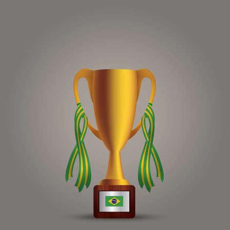 brazil flag: trophy with brazil flag