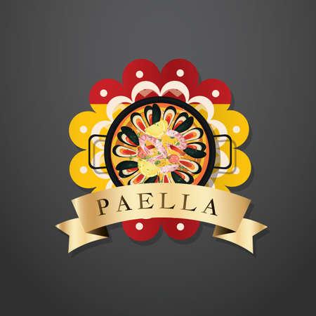 spanish food: paella label