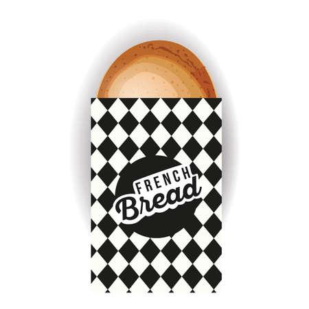 bolsa de pan: pan franc�s en la bolsa de papel Vectores