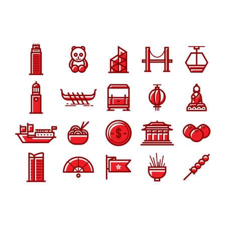 junk boat: collection of hong kong icons