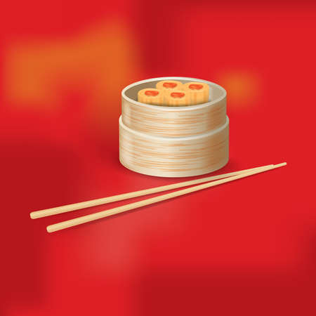 bamboo stick: shumai Illustration