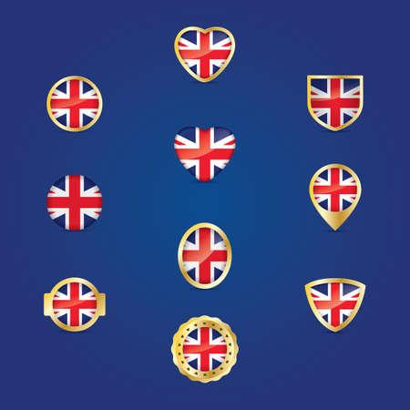 uk: collection of uk flag icon Illustration
