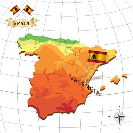 valencia: map of spain with valencia Illustration