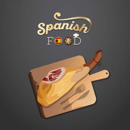 スペイン料理の壁紙  イラスト・ベクター素材