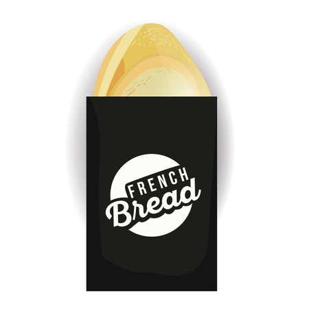 bolsa de pan: pan francés en la bolsa de papel Vectores