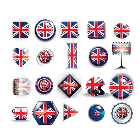 united kingdom: collection of united kingdom flag icons