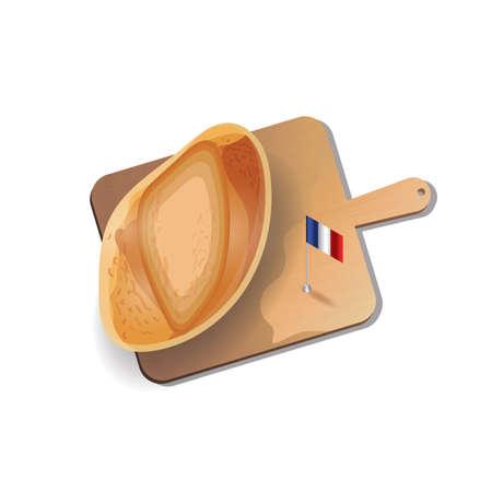 cutting board: french bread with cutting board Illustration